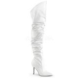 Bílá Koženka 10 cm CLASSIQUE-3011 Vysoké Kozačky Nad Kolena