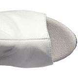 Bílá Koženka 15 cm DELIGHT-3019 Kozačky Nad Kolena Platformě