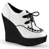 Bílá Koženka CREEPER-302 klínové creepers boty platformě