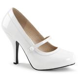 Bílá Lakovaná 11,5 cm PINUP-01 velké velikosti lodičky obuv