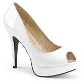 Bílá Lakovaná 13,5 cm CHLOE-01 velké velikosti lodičky obuv