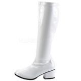 Bílá Lakovaná 5 cm RETRO-300 Dámské Kozačky s Vysokymi Podpatky