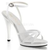 Bílá Lakované 12 cm FLAIR-436 sandály vysoký podpatek