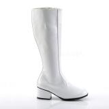 Bílá Lakované 5 cm GOGO Dámské Kozačky pro Muže