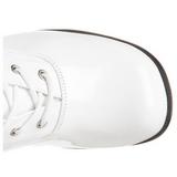 Bílá Lakované 5 cm RETRO-302 Dámské Kozačky s Tkaničkami
