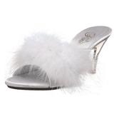 Bílá Peří 8 cm BELLE-301F Pantofličky na Podpatku pro Muže