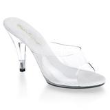 Bílá Průhledný 11 cm CARESS-401 Pantofle Vysoké Podpatky