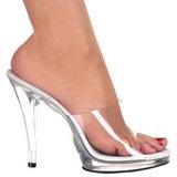 Bílá Průhledný 12 cm FLAIR-401 Pantofličky na Podpatku pro Muže