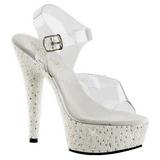Bílá Průhledný 15 cm PEARLIZE-608 Sandály Perly Platformě