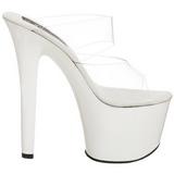 Bílá Průhledný 18 cm SKY-302 Pantofle na vysokém podpatku