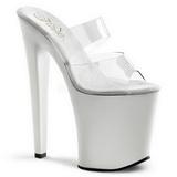 Bílá Průhledný 20 cm XTREME-802 Pantofle na vysokém podpatku