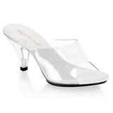 Bílá Průhledný 8 cm BELLE-301 Pantofle Vysoké Podpatky