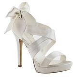 Bílá Satén 12 cm LUMINA-29 Večerní Sandály s podpatkem