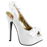 Bílá Satén 14,5 cm Burlesque TEEZE-56 Platformě Sandály Podpatky