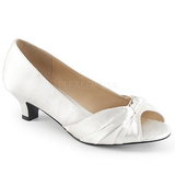 Bílá Satén 5 cm FAB-422 velké velikosti lodičky obuv