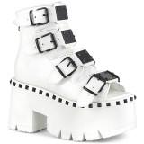Bílá Vegan 9 cm ASHES-70 Gothic kotnikové kozačky na tlustém podpatku