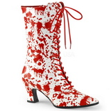 Bílá Červený 7 cm VICTORIAN-120BL Bílé Dámské Kozačky s Tkaničkami