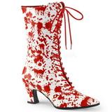 Bílá Červený 7 cm VICTORIAN-120BL Kotníkové Kozačky Dámské s Tkanička