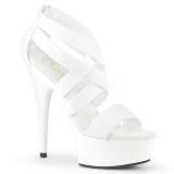 Bílá elastický pás 15 cm DELIGHT-669 pleaser boty na podpatku