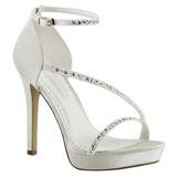 Bílá kamínky 12 cm LUMINA-26 Večerní Sandály s podpatkem