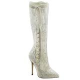 Bílá krajky tkaniny 13 cm AMUSE-2012 vysoké kozačky na podpatku