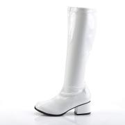 Bílé lakované kozačky blokový podpatek 5 cm - 70 léta hippie disco gogo - kozačky pod kolena