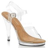 Hnědý 11,5 cm FLAIR-408 sandály vysoký podpatek