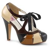 Hnědý 11,5 cm retro vintage BETTIE-19 dámské boty na vysokém podpatku