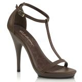 Hnědý 12,5 cm Fabulicious POISE-526 dámské sandály na podpatku