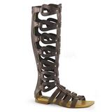 Hnědý ATHENA-200 dámské sandály gladiátorky po kolena