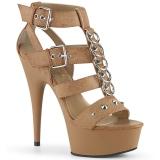Hnědý Koženka 15 cm DELIGHT-658 pleaser boty na vysoké podpatky