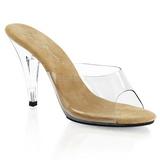 Hnědý Průhledný 11 cm CARESS-401 Pantofle na vysokém podpatku
