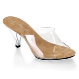 Hnědý Průhledný 8 cm BELLE-301 Pantofle Vysoké Podpatky