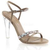 Hnědý kamínky 11,5 cm CLEARLY-415 Večerní Sandály s podpatkem