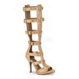 Krem 11,5 cm GLADIATOR-208 dámské sandály gladiátorky po kolena