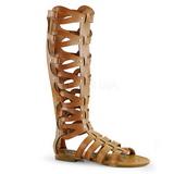 Krem ATHENA-200 dámské sandály gladiátorky po kolena