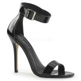 Lakované 13 cm AMUSE-10 Muži botách na vysokém podpatku