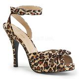 Leopard Satén 12,5 cm EVE-01 velké velikosti sandály dámské