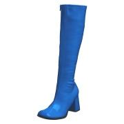 Modré lakované kozačky blokový podpatek 7,5 cm - 70 léta hippie disco gogo - kozačky pod kolena