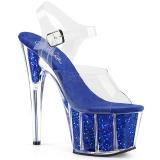 Modré třpytky 18 cm Pleaser ADORE-708G Boty na podpatku pro tanec na tyči