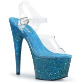 Modré třpytky 18 cm Pleaser ADORE-708LG Boty na podpatku pro tanec na tyči