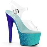 Modré třpytky 18 cm Pleaser ADORE-708OMBRE Boty na podpatku pro tanec na tyči