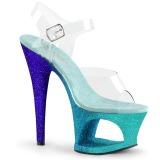 Modré třpytky 18 cm Pleaser MOON-708OMBRE Boty na podpatku pro tanec na tyči