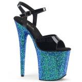 Modré třpytky 20 cm Pleaser FLAMINGO-809LG Boty na podpatku pro tanec na tyči
