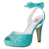 Modrý 11,5 cm Pinup BETTIE-01 dámské sandály na podpatku