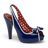 Modrý 11,5 cm retro vintage BETTIE-05 dámské boty na vysokém podpatku