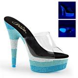 Modrý 15 cm DELIGHT-601UVS neon platformy pantoflicky dámské