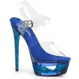 Modrý 16,5 cm ECLIPSE-608GT sandály s jehlovým podpatkem