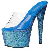 Modrý 18 cm ADORE-701LG třpyt platformy pantoflicky dámské
