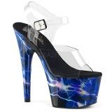 Modrý 18 cm ADORE-708STORM Hologram boty na platformě a podpatku